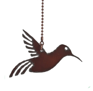 Rustic Ironwerks Hummingbird Fan Pull Made From Iron 8 Inch Chain Attached to a 3 Inch By 2.5 Inch